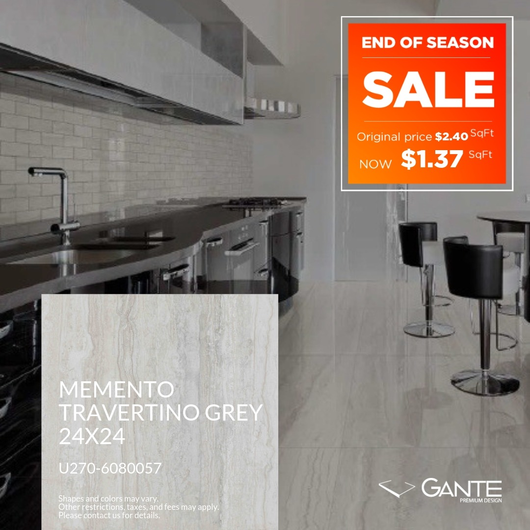 Special Offer - GANTE - Momento Travertino Grey (Valid Till: April 30, 2019)