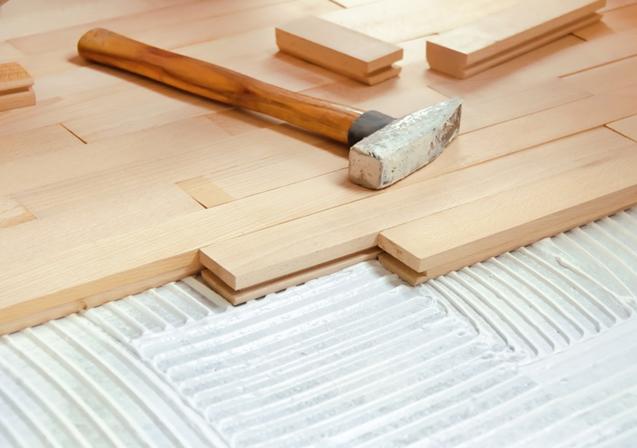 Wooden tile installation