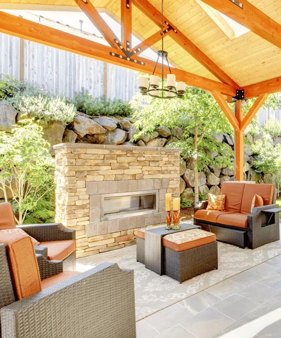 Outdoor patio with ceramic flooring