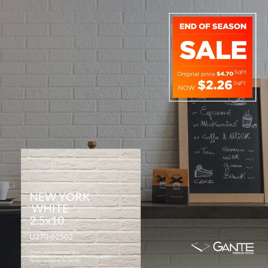 Special Offer - GANTE - New York White (Valid Till: June 30, 2019)