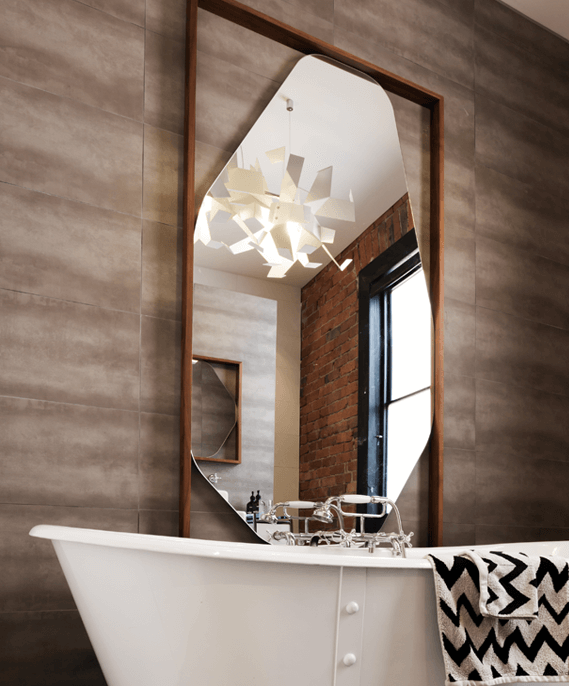 Bathroom mirror with porcelain tiles in wall