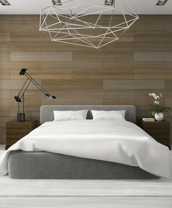 Bedroom with modern chandelier and tiles
