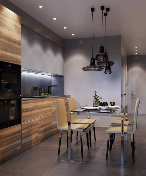 Modern looking dining room with grey ceramic tiles