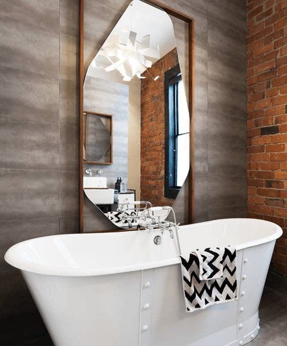 Elegant bathroom with modern ceramic tiles