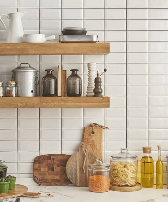 Kitchen cabinetry with ceramic tiles wall
