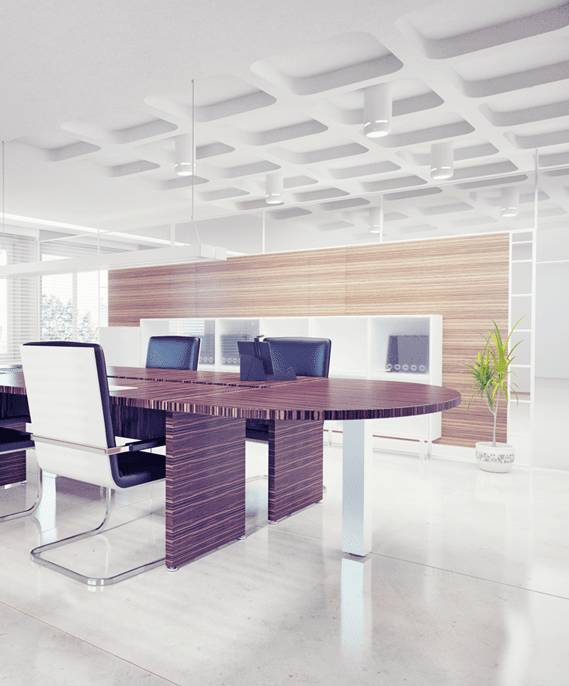 Modern office with ceramic tile flooring