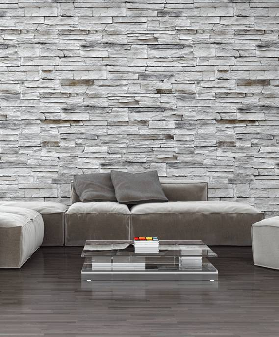 Modern living room with natural stone wall