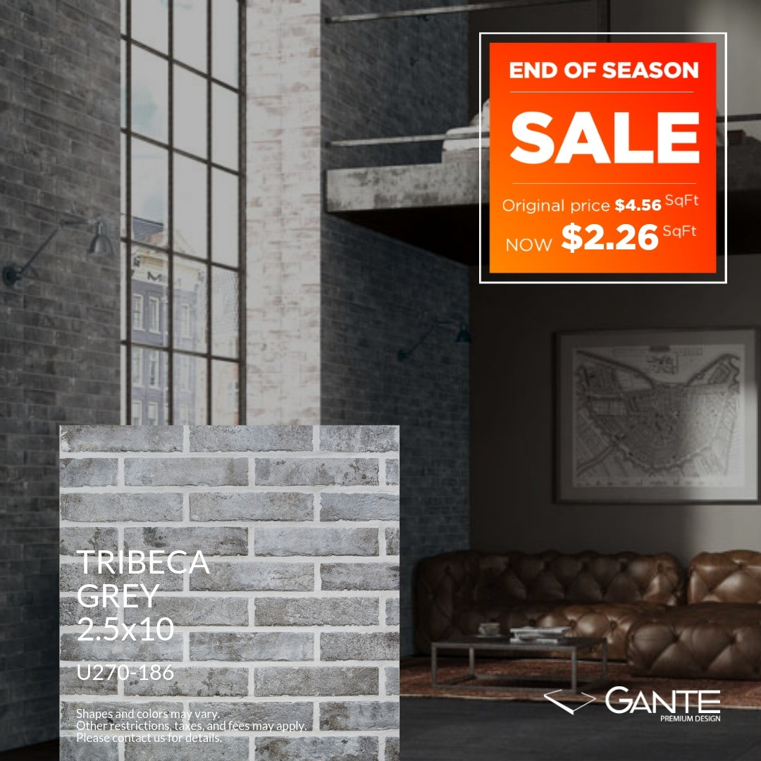 Special Offer - GANTE - Tribeca Grey (Valid Till: April 30, 2019)