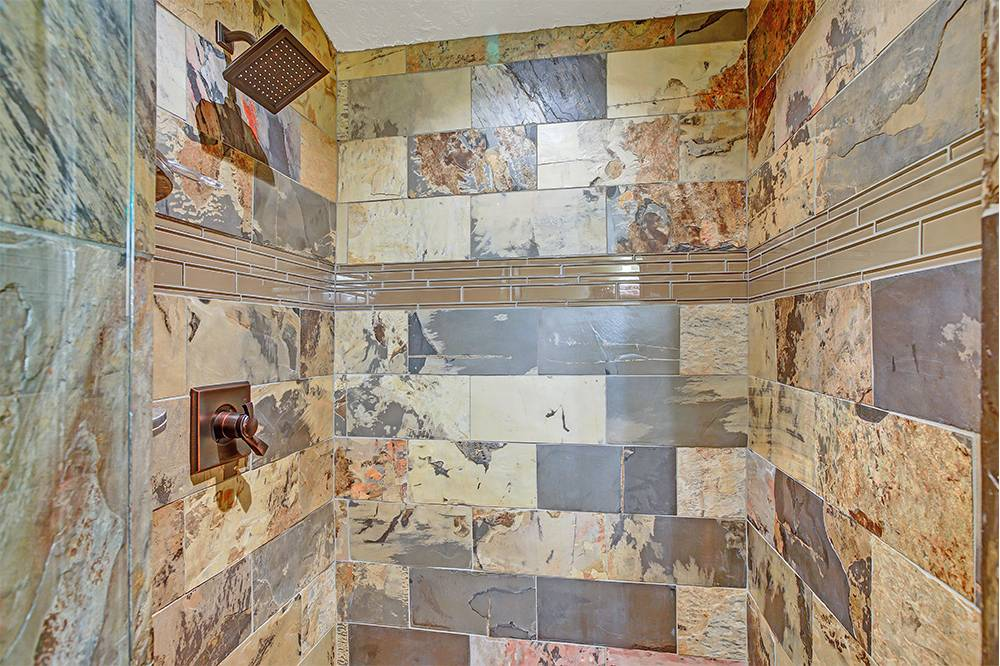 Honed natural stone tile