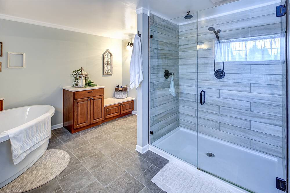 Walk in shower with wood tile