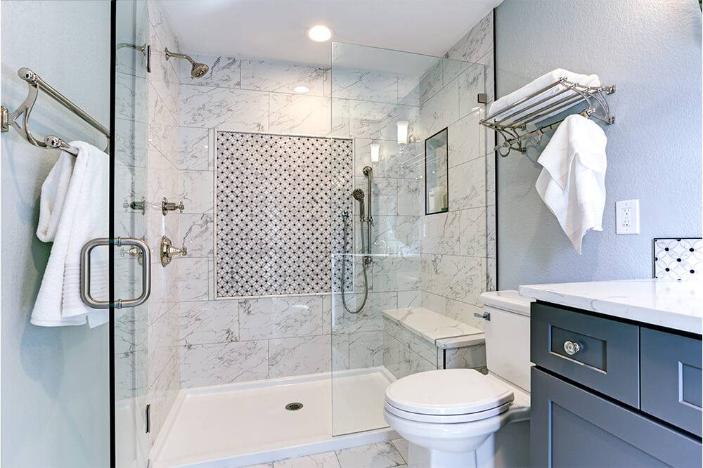 Walk in shower with bold accents